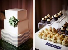 I am kind of in love with this chevron and succulent wedding cake.