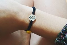 Rabbit bracelet From now on your best friend can always be with you ;) Bracelet made in macramê with pompom (you can choose the color you want) and a solid sterling silver charm with the silhouette of your best friend :D  The charm can be made with other animal figures.