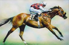 Takeover Target Original Painting, Horse Racing Art by Denise Finney