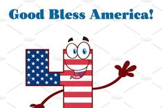 Number Four Waving An American Flag #Sponsored , #Waving, #American, #Flag, #Number 4th Of July Events, Happy 4 Of July, American Flag, Numbers, Waves, Cartoon, Illustration, Red, Character