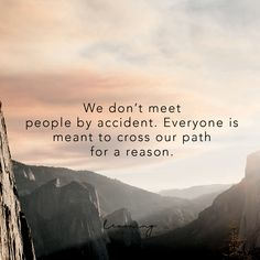 We don't meet people by accident. Everyone is meant to cross our path for a reason. Quotes About Meeting People, Meet New People Quotes, Meant To Be Quotes, Good Life Quotes, Quotes To Live By, Meeting New People, Path Quotes, Words Quotes, Sayings