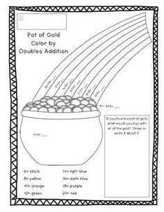 St. Patrick's Day Coloring Addition ~Freebie from Grade One Fun  ~Available in American and Canadian spelling