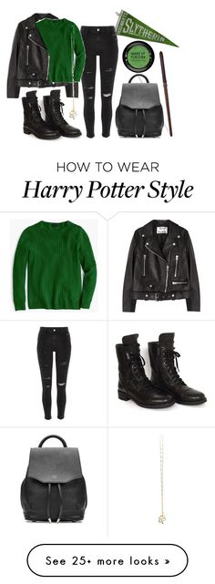 """""""slytherin // contest entry"""" by rmdannatt on Polyvore featuring River Island, Acne Studios, J.Crew, Chanel, rag & bone, MAKE UP FOR EVER, harrypotter, slytherin and contestentry"""