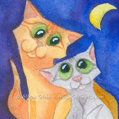 BFF Best Friends - Cute Cat and Kitten ACEO Original Watercolor Painting by Allison Stein - Whimsical kitty art card mini-painting.