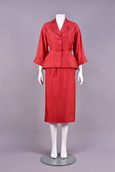 CHRISTIAN DIOR ORIGINAL SILK SUIT, Raspberry twill having dropped shoulder and over-the-elbow cuffed sleeve, shaped collar with notched lapel and faux buttons, single breast pocket above oblique. Silk Suit, Cuff Sleeves, Christian Dior, New Look, 1950s, Vintage Fashion, Suits, Shirt Dress, The Originals