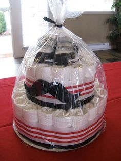 Moustache baby diaper cake in red and black (lots of color possibilities tho) for a shower