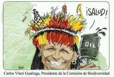 Carlos Viteri Gualinga, Indígena amazónico, ideólogo y activista del Buen Vivir que condenaba la explotación petrolera, pasó a ser un impulsor de la explotación del Yasuní ITT desde su rol de Presidente de la Comisión de Biodiversidad de la Asamblea Nacional. Caricatura: Bonil