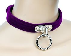 Purple Velvet O Ring Choker / Dog Collar. Great for Roleplay, Cosplay in any Style. Gothic, punk, deathrock, metal, industrial, psychobilly, rockabilly, lolita, vampire, witchy, fetish or any subcultu