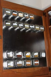 Spice rack - add a magnetic panel inside a cupboard.  GENIUS! why is everyone on pinterest smarter than me? (: