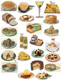 Free Printable Vintage Food Posters Vintage, Vintage Labels, Printable Vintage, Grilled Chicken Sandwiches, Vintage Kitchen, Vintage Food, Retro Food, Collage Sheet, Food Collage