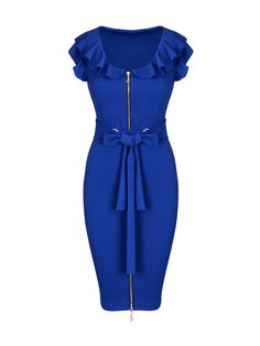 Round Neck Flounce Bowknot Zips Plain Bodycon Dress - fashionmia.com