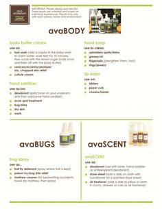 Many uses of Ava Anderson Non Toxic BODY, BUG and SCENT products without the chemicals, and many uses! www.avaandersonnontoxic.com/WendySpencer