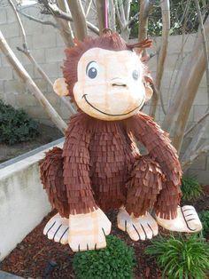 Curio it s George pinata Monkey Birthday Parties, Jungle Theme Birthday, Birthday Party Themes, 2nd Birthday, Jungle Party, Birthday Ideas, Curious George Party, Curious George Birthday, Pinata Party