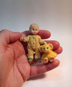 OOAK Miniature Handmade Baby Boy Doll 1 12 Scale Dolls House with Elephant Toy | eBay