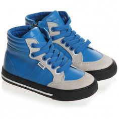 Boys Blue Leather High-Top Trainers - Shoes | Childrensalon