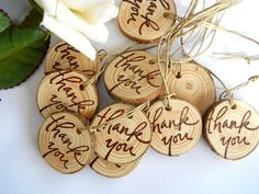 100 Wooden Tree Branch Thank You Charms Gift Tags for Weddings, Crafts Shows, Showers, Engagments parties.