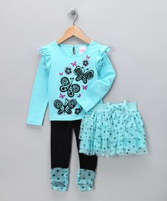 Take a look at this Aqua Butterfly Skirt Set - Infant & Toddler by Nannette on #zulily today!