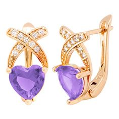 Carat Lover Rose Frame Yellow Gold Color Diamond Accent Hoop Earrings (purple) *** Click on the image for additional details.