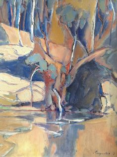 An Oil painting by Ron Reynolds in the Abstract style depicting Landscape River Rocks and Swamp with main colour being Blue Cream and Ochre and titled Warrandyte Blue