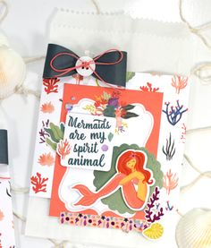 """Mermaid themed gift bags by Tya Smith featuring the """"Mermaid Tales"""" collection by #EchoParkPaper"""