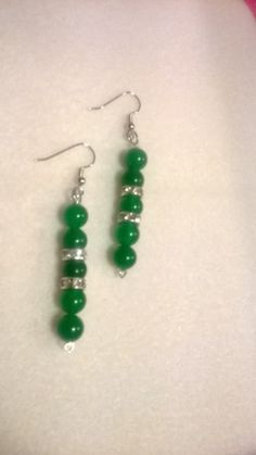 Green Dangle beaded earrings, Emerald Jade Beads | LOVE33 - Jewelry on ArtFire