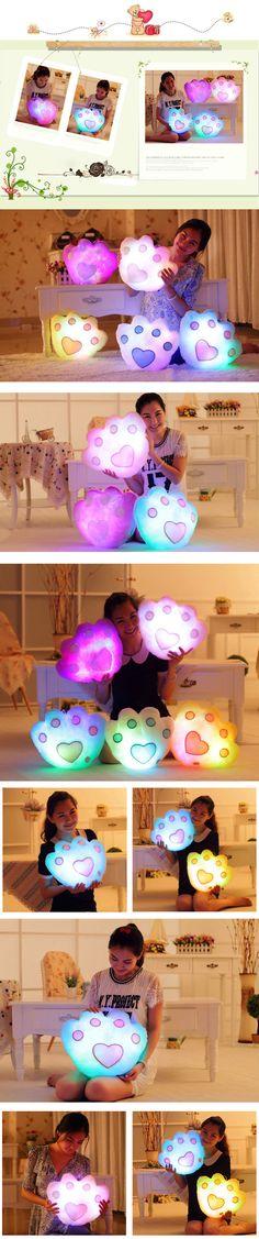 Colorido LED luz urso música forma paw descanso de lance sofá presente para casa de pelúcia de aniversário decoração festival