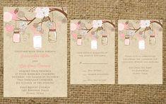PRINTABLE Kraft and Pink Brown Mason Jar Elegant Classy Flowers Rustic Vintage Shabby Chic Outdoor Barn Wedding Invitation Set. $60.00, via Etsy.
