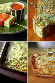 Gâteau de courgettes (Zucchini cake in cubes with dip)/would be good for spanish tortilla too Vegetable Recipes, Vegetarian Recipes, Cooking Recipes, Healthy Recipes, Fingers Food, Eat Better, Breakfast Desayunos, Salty Foods, Appetizer Recipes