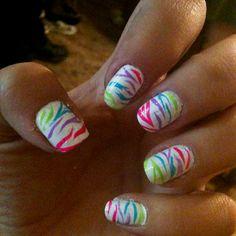 Neon zebra nail art ♥