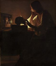 Georges de la Tour, Magdalene with the Smoking Flame, c. currently at the Los Angeles County Museum of Art Georges de la Tour, The Penitent Magdalene, c. Baroque Painting, Baroque Art, Italian Painters, Italian Artist, Chiaroscuro, Michelangelo Caravaggio, Sculpture Textile, National Gallery Of Art, Exhibition