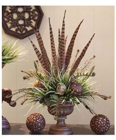This is a totally unique floral design - I just love the feathers & ferns!