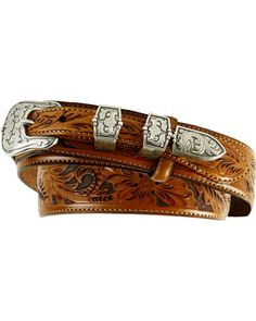 bf5bbaa3c Tony Lama Men s Tooled Leather Ranger Belt Brown Tony Lama leather ranger  belt is hand tooled with an updated floral design. Perfectly finished with  an ...