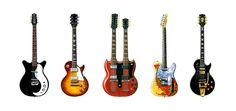 Jimmy Page s Guitars Greeting Card, DL size