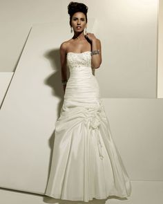 Strapless dropped waist A-line taffeta wedding dress with chapel train,wedding dress shops,wedding dress shops,wedding dress shops