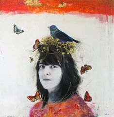 """Your Head is a Living Forest Full of Song Birds by Dominique Fortin, Mixed media on board 36"""" X 36"""""""
