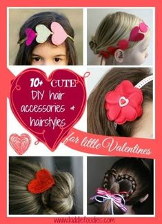 10 cute DIY hair accessories hairstyles for little Valentines, How To Make Headbands Little Valentine, Valentine Day Love, Valentine Day Crafts, Valentines, Little Girl Hairstyles, Trendy Hairstyles, Cute Diy Hair Accessories, Diy Accessoires, Diy Hair Bows