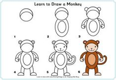 Learn to Draw African Animals Drawing Lessons, Art Lessons, Drawing For Kids, Art For Kids, Monkey Drawing, Monkey Art, Directed Drawing, Step By Step Drawing, Zoo Animals
