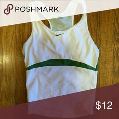 Nike tank Nike workout tank White and green in color Good condition Nike Tops Tank Tops