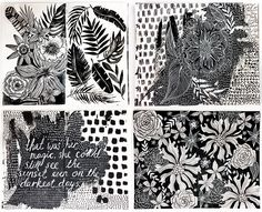 alisaburke: a peek inside my art journal- black and white pages