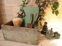 Fab Primitive Wooden Gardening Box Seeds 2 cents by TrashJunkie, $25.00
