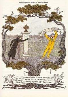 Over the span of more than 25 years, the work of Edward Gorey appeared in The New Yorker magazine. Advertisements, spot illustrations, a . Edward Gorey, John Kenn, Cheap Art, New Yorker Cartoons, Illustration Sketches, Vintage Illustrations, Art Party, Art Plastique, Music Posters