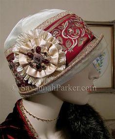 21320c9858df9 Antique Style Ecru Ruby Embroidered Silk 1920s Gatsby Flapper Downton  Cloche Hat