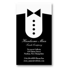 Elegant Tuxedo, Men Clothing Fashion Groom Business Card. It's two-sided with no additional charge, and totally customizable!