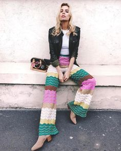 The coolest M Missoni pants on the coolest girl - Veronica Ferraro ready for #MMissoniTakesMiami ❤