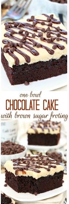 With just a handful of ingredients, this no fuss one bowl chocolate cake will quickly become one of your favorites! Top with a layer of brown sugar frosting or serve with a scoop of your favorite ice (Chocolate Bars Cake) Frosting Recipes, Cake Recipes, Dessert Recipes, Icing Recipe, Just Desserts, Delicious Desserts, Delicious Chocolate, French Desserts, Brown Sugar Frosting