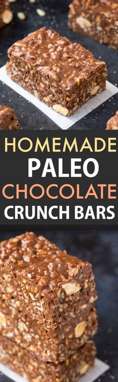 No Bake Homemade Paleo Chocolate Crunch Bars- Easy, fuss-free and delicious, this healthy candy bar copycat combines crispy seeds, chocolate and almond butter in one recipes juice plus Dessert Sans Gluten, Paleo Dessert, Gluten Free Desserts, Vegan Desserts, Dessert Recipes, Chocolate Paleo, Chocolate Crunch, Chocolate Chips, Homemade Chocolate