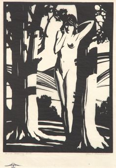 "Paul Landacre, ""Sapling Slim and Shadow Naked"", 1928. Wood engraving. Visit www.catherineburns.com"