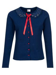Pussy Deluxe Lovely Marine Sweet Dotties Collar Jacke blau Brands Pussy Deluxe Jacken & Mäntel
