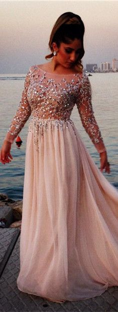 Shining Top Scoop Prom Dresses Long Sleeves Crystals Beading Chiffon Long A-line Evening Gowns