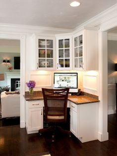 What a perfect computer desk for the kitchen! Design your own kitchen cabinet @ http://www.designakitchen.net/